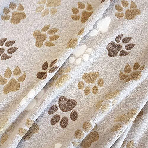 Stoff Meterware Wellness Hellbeige NEU Tatzen Pfoten Hund Fleece Softplüsch weich warm Kleiderstoff