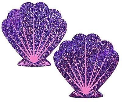 Glittering Purple and Pink Mermaid Seashell Nipple Pasties by Pastease o/s