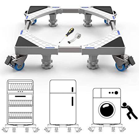 Universal Mobile Base Stand with 4 Strong Feet 8 wheels Multi-Functional Base white, Adjustable Furniture Dolly for Dryer, Washing Machine and Mini Refrigerator (4 Feets + 8 Wheels)