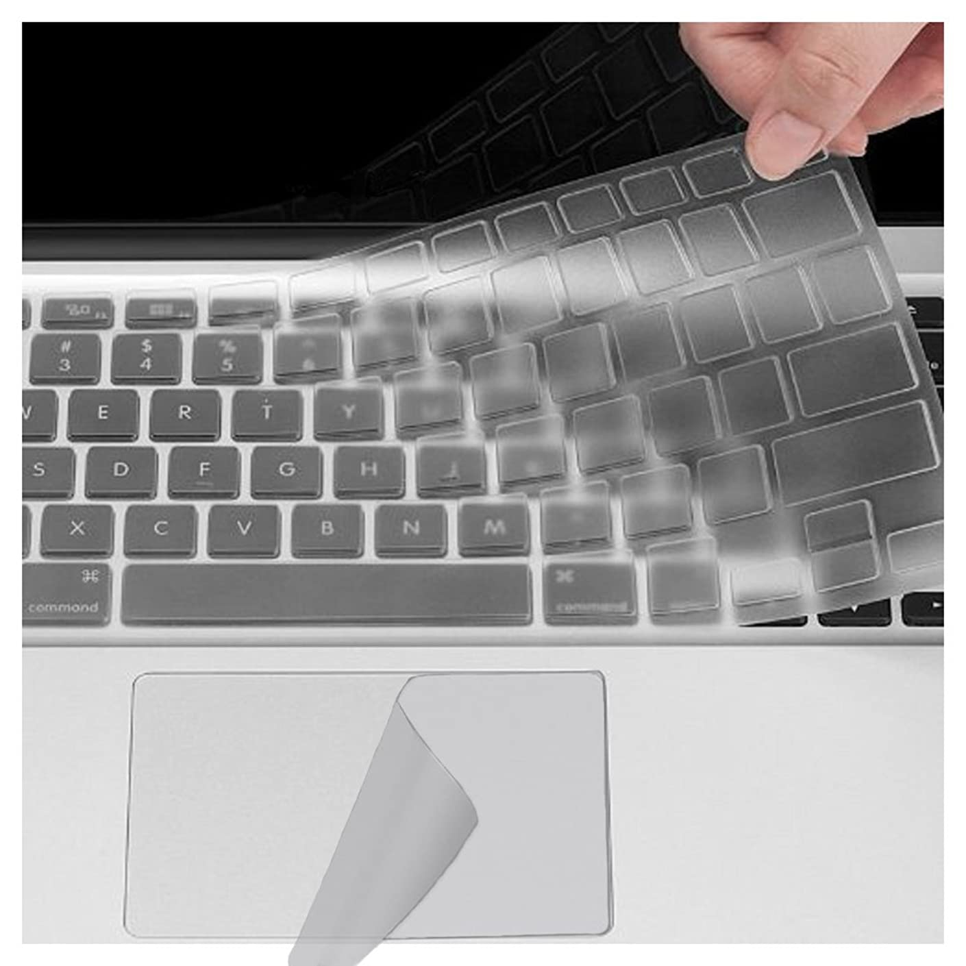 Se7enline MacBook Pro 13 Inch Silicone Keyboard Cover & Ultra-Thin Touch Pad Protector 2 in 1 Bundle for MacBook 13'' with Retina Display Model A1706 (with Touch Bar) 2017/2018, Clear/Transparent
