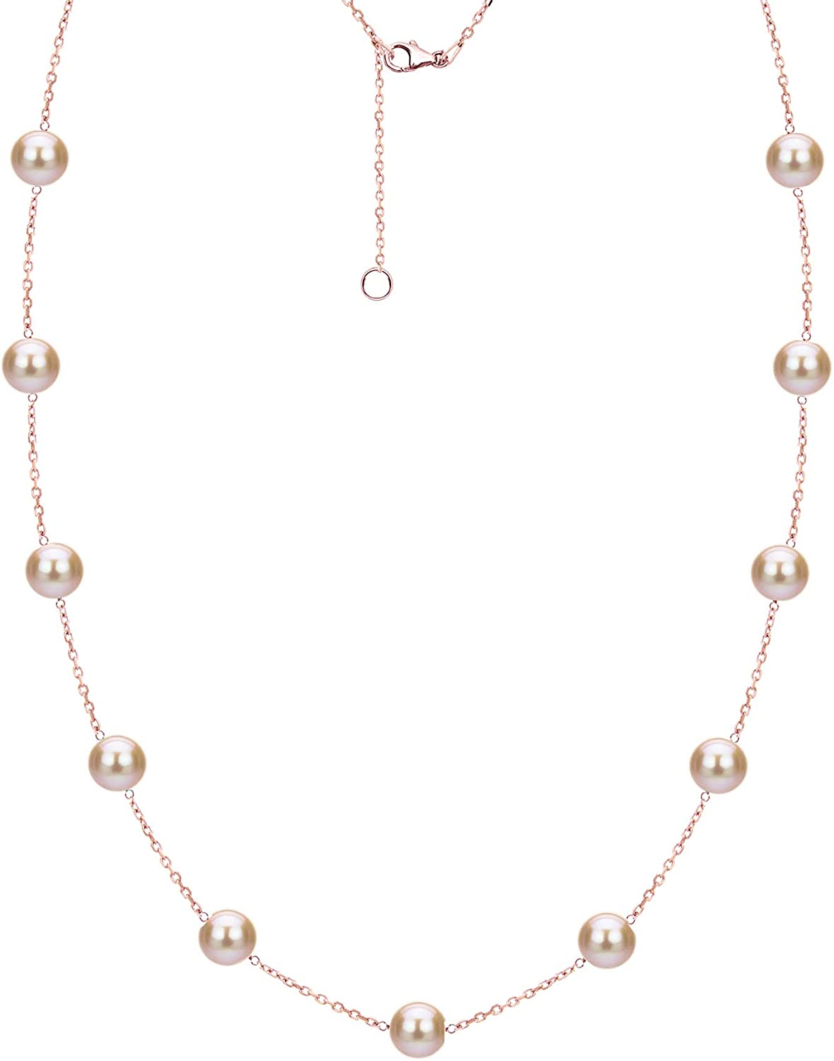 Tin Cup 安値 Station 毎日続々入荷 Chain Cultured Freshwater Necklace Pearl Pink 18