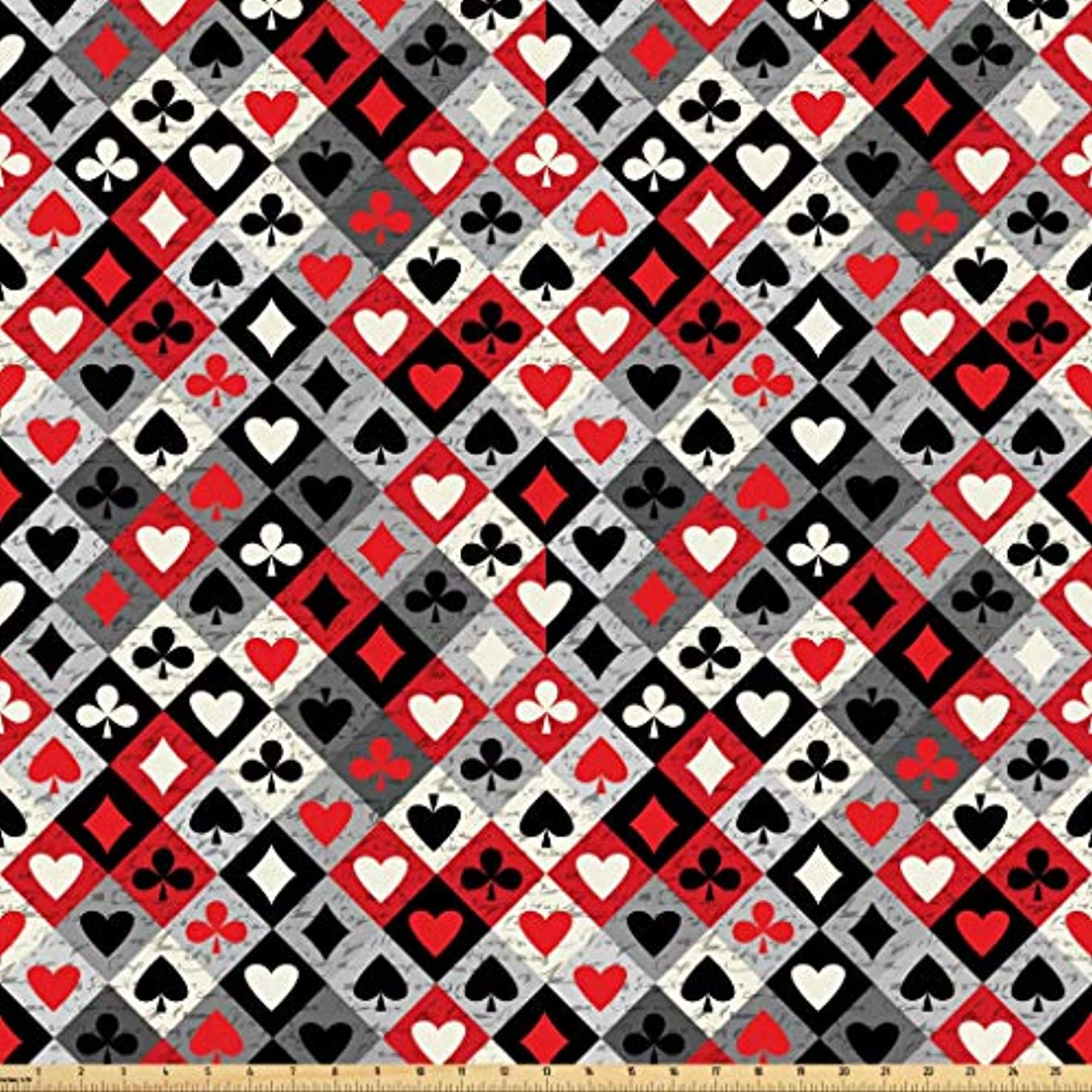 Lunarable Casino Fabric by The Yard, Checkered Rhombus Pattern with Playing Card Icons Grunge Display Gaming Club Theme, Microfiber Fabric for Arts and Crafts Textiles & Decor, 1 Yard, Multicolor