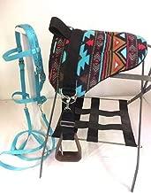Party Ponies Miniature Horse/SM Pony Bareback Saddle PAD Set with BITLESS Bridle - Turquoise Indian Native Set