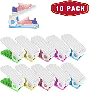 bedee Shoe Rack Organizer,10 Packs Shoe Slots Organizer Adjustable Shoe Stacker Organizer, 4-Level Height Shoe Organizer for Closet, Come with 2 Cleaning Cloth