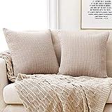 Deconovo Funda para cojin Almohada Decorativa Prodector del Sofa Silla 2 Piezas 55x55cm Beige Oscuro