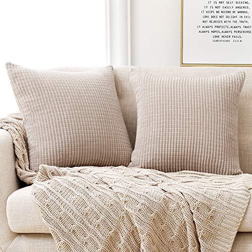 Deconovo Kissenbezug Kordsamt Zierkissenbezug Dekorativen Kissenhüllen Weiches Massiv Kissen für Sofa Couch Schlafzimmer Creme 55x55 cm 2er Set