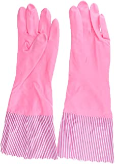 Prettyia Reusable Waterproof Household Rubber Latex Cleaning Gloves, Long Cuff, Kitchen Gloves, 16 inches Long