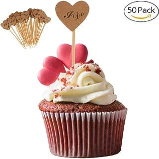 Elegantday Rustic Vintage Kraft Paper Heart Cupcake Picks Cake Toppers Food Flags Canape Sticks Wedding Bridal Shower Party DIY Dessert Decoration 50PCS Valentines Day (I do)