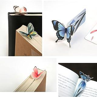 (moin moin) しおり ブックマーク ブックマーカー メッセージ カード 本にとまってるみたい! ちょうちょ 蝶 立体 3D お花 カラフル 本体 + 封筒 14種セット