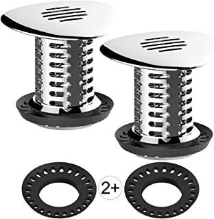 Tub Drain Hair Catcher, Upgraded Bathtub Shower Combo Drain Protector Hair Strainer Snare Trap, Match Standard Drain Sizes from 1.46 to 1.79 Inches, Catch Hair Easily and Fast Water, Anti-Rust, 2 pcs