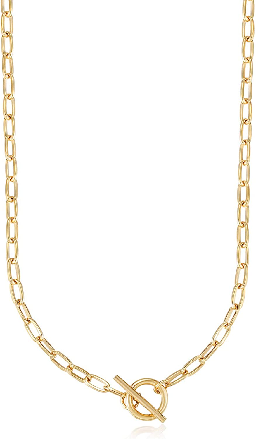CIUNOFOR Chunky Oval Link Chain Necklace for Women Girls Italian Style Choker Gold Plated Dainty Simple Necklace 16'' 20'' 24''