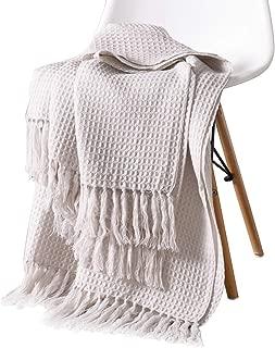 Sue&Joe Knit Throw Blanket - Beige Soft Couch Sofa Decorative Warm Cozy Nap Tassel Waffle Weave Blanket, 50