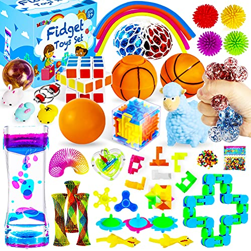 MGparty 38PCS Sensory Fidget Toys Set, Stress Anxiety Relief Assortment Toys for Kids Adults,Party Favors Carnival Prize Classroom Rewards Pinata Goodie Bag Fillers