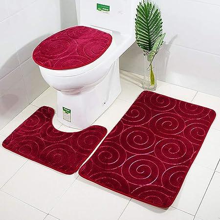 MANNUOSI Nouveau Tapis de Bain antiderapantm,Tapis Salle Bain 3 pièces Ensemble de Tapis de Salle de Bain Contour Tapis Toilette WC(Red)
