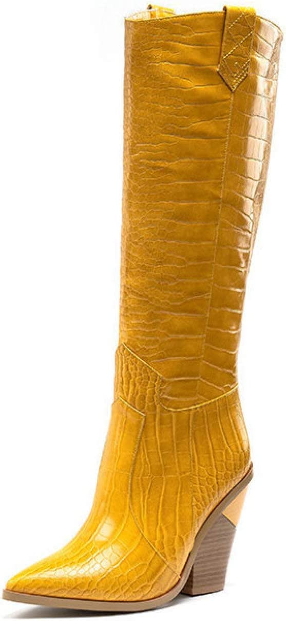 FMTZZY High Heels for Women Western Womens Knee NEW before selling ☆ Boot Large-scale sale Cowboy