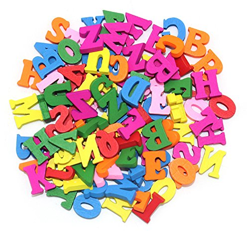Wooden Capital Letters Colorful Mixed Sewing Buttons Pendants DIY Craft Clothes Decor 100Pcs