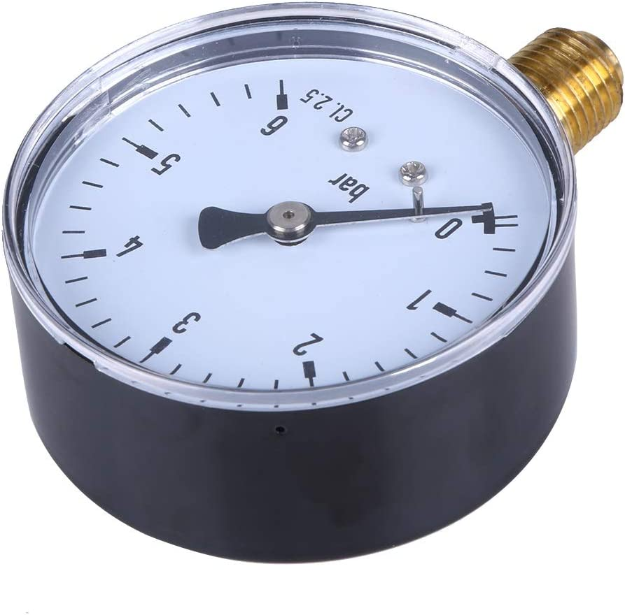 YINJIESHANGMAO 1//4 Inch Manometer 6 Bar Compressor Compressed Air Pressure Gauge for Air Water Oil Gas Measurement Color : Pressure Gauge