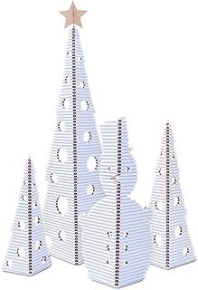 El conjunto de Navidad de cArtù está compuesto por 3 árboles que se sostienen solos y un muñeco de nieve hecho de cArtù, un nuevo tipo de cartón ondulado. Árbol grande: 1,6 m de alto, el árbol mediano: 95,5 cm de alto, el árbol pequeño: 74,5 cm de alto, el muñeco de nieve: 92 cm de alto. Color: blanco