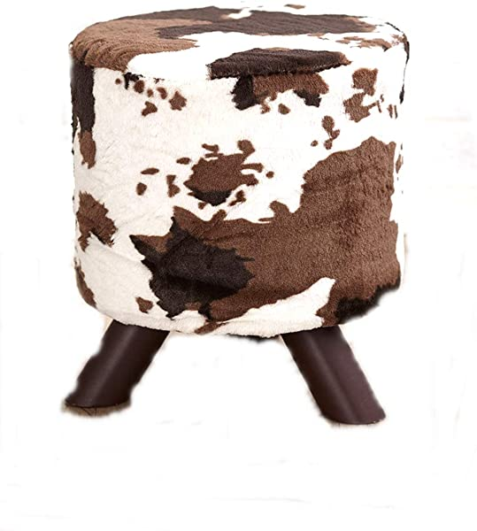 Boomer888 Animal Print Fabric Covered Ottomans Rustic Footstools Chic Cowhide Brown Home Fur Small Seat Western Lodge Living Room Decor Dia 12 Inches X H 13 1 2 Inches