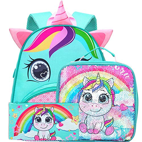 Toddler Backpack, 12' Unicorn Sequin Preschool Bag and Lunch Box for Girls