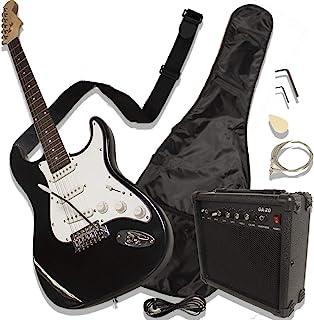 Audiotek Guitarra eléctrica con amplificador Accesorios Tipo Stratocaster (Negra)