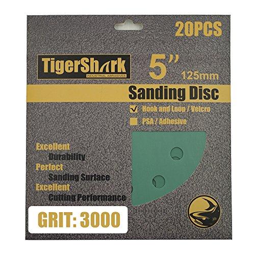 TigerShark 5 Inch Sanding Discs 8 Hole Wet Dry Grit 3000 20pcs Pack Special Anti Clog Coating Film Green Line Hook and Loop Dustless Random Orbital Sander Paper Ultra Fine