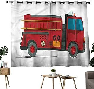 Brandosn Room Darkening Curtains Grommet Curtain for Kitchen Window Fire Truck,Emergency Rescue Car Curtains/Panels/Drapes W108 x L72