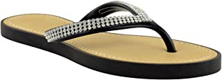 Fashion Thirsty Womens Diamante Flip Flops Jelly Sandals Summer Beach Toe Post Shoes