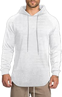 JXEWW Men Hipster Curved Hem Hooded T Shirt Hip Hop Swag Blouse Long Sleeves Crew Neck …