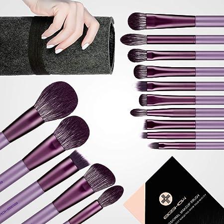 Makeup Brush Set, EIGSHOW Professional Makeup Brushes Kit Foundation Powder Concealers Eye Shadows Makeup 15 Piece for Eye Face Liquid Cream Cosmetics Brushes Kit (Purple)