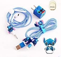 ZOEAST(TM) DIY Protectors ET Blue Baby Apple Data Cable USB Charger Data Line Earphone Wire Saver Protector Compatible with iPhone 5 5S SE 6 6S 7 8 Plus X IPad iPod iWatch (Basic Styles, Stitch)