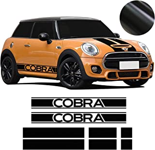 Charminghorse Bonnet Hood Trunk Rear Side Skirt Racing Stripes Vinyl Decal Stickers for Mini Cooper Cobra R50 R53 R56 F56 3-Door Hatchback (Matte Black)