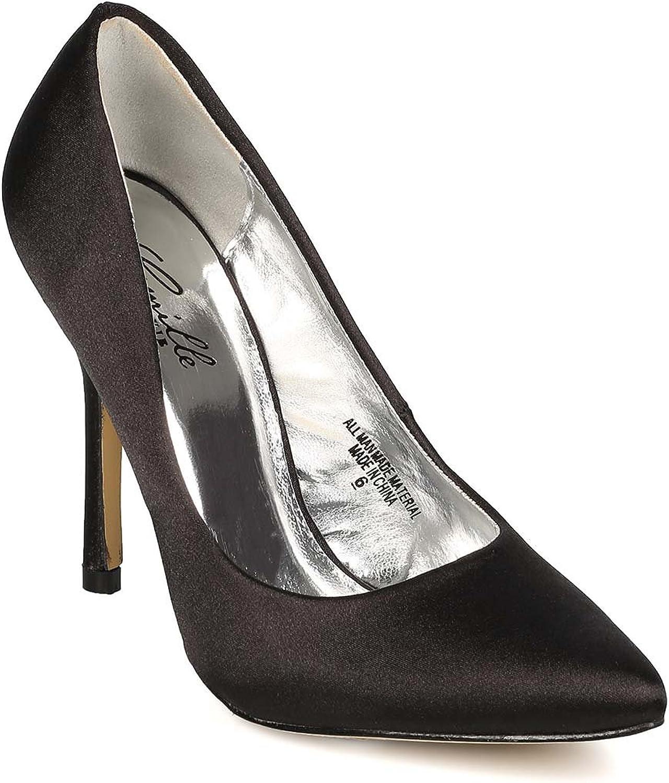 Camille SGL1477-1 Satin Pointy Toe Single Sole Stiletto Heel Pump - Black