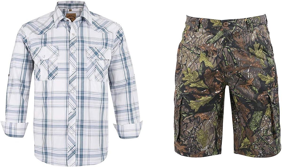 Men Pearl snap Western Shirt(XXL) and Men Cargo camo Shorts(40)