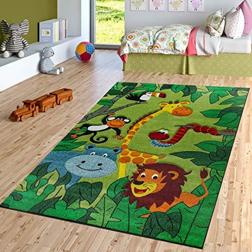 TT Home Alfombra para habitación infantil, diseño de animales de la selva, jirafa, serpiente, león, color verde, tamaño: 140 x 200 cm