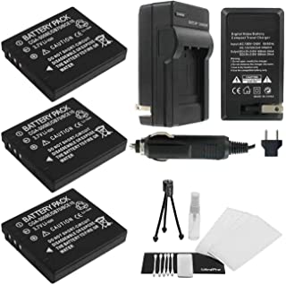 UltraPro 3-Pack DMW-BCE10 High-Capacity Replacement Batteries with Rapid Travel Charger for Panasonic Lumix DMC-FS3, FS5, FS20, FX30, FX33 Digital Cameras