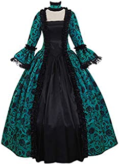 Women Vintage Gothic Long Sleeve Dress Floral Print Steampunk Cosplay Party Ball Gown Dresses Victorian Dark Queen Costume