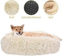 SlowTon Dog Calming Bed, Ultra Soft Donut Cuddler Nest Warm Plush Dog Cat Cushion with Cozy Sponge Non-Slip Bottom for Small Medium Pets Snooze Calm Sleeping Indoor, Machine Washable