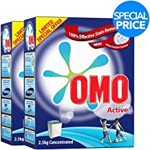 OMO Active Laundry Detergent Powder, 2.5 kg Twin Pack