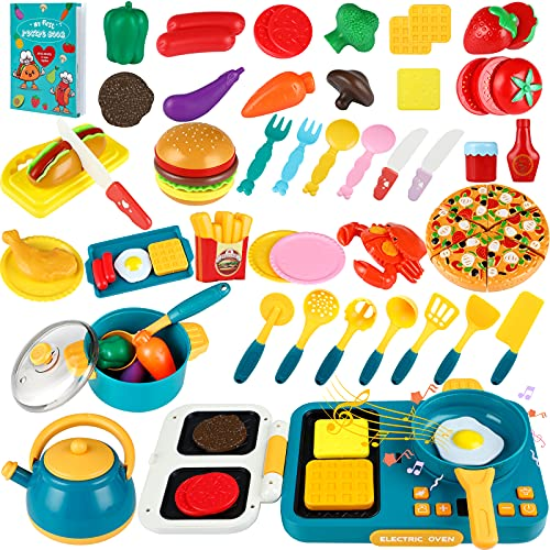 INNOCHEER Play Kitchen Accessories Set with Recipe Book, Pretend Kids Kitchen Toys Includes Pots and Pans, Cooktop, Cutting Play Food, Pizza, Hamburger, Cooking Utensils for Toddlers Boys Girls 3+