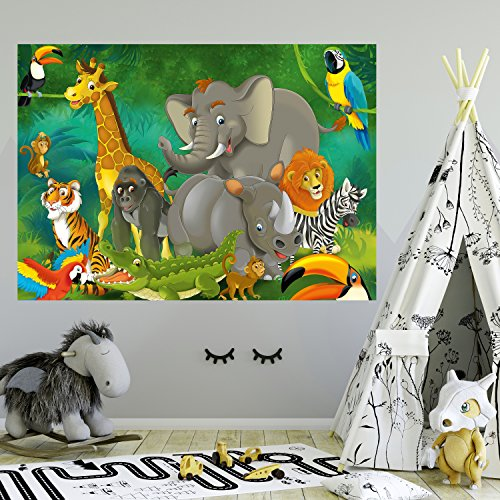 Papel Pintado Infantil 183 x 127 cm Animales Safari Selva Niños Niño Niña Kids Elefante Fotomurales Incluyendo Pegamento livingdecoration