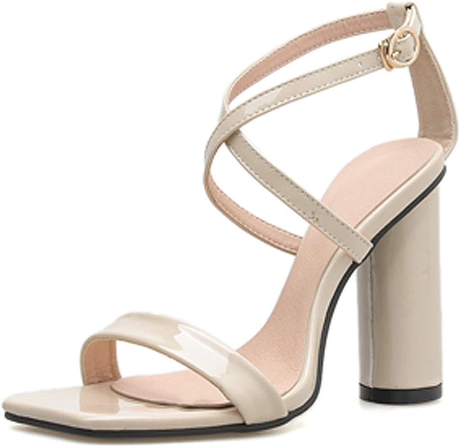 Ches 2019 Concise Buckle Strap Summer Sandals Square Heel Gladiator Apricot Black Women's Sandals women Dress shoes