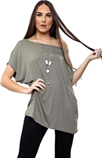 CHOCOLATE PICKLE New Ladies Baggy Batwing Sleeve Loose Fit Off The Shoulder Bardot Necklace T Shirt Tops 8-16