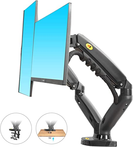 "North Bayou F160 Dual Monitor Full Motion Desk Mount with Gas Spring for Two Computer Monitors 17'' - 27"" LED LCD Fla..."
