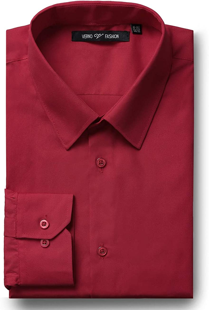 VERNO FASHION Men's Classic Fit Solid Free Shipping Cheap Bargain Gift Max 47% OFF Shirt Dress Sleeve Sp Long