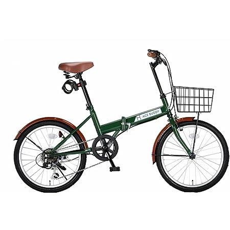 ACE BUDDY 206-5 折りたたみ自転車 カゴ カギ ライト 6段変速 20インチ
