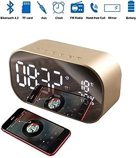Enjoy Best Time Wireless Bluetooth Speaker Clock,Digital Mirror Radio Alarm Clock USB Charging Port AUX TF Card Play Display for Bedside Bedroom(Gold)