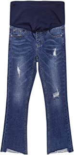 Foucome Hight Waisted Butt Lift Stretch Ripped Streight Leg Maternity Jeans Distressed Denim Pants