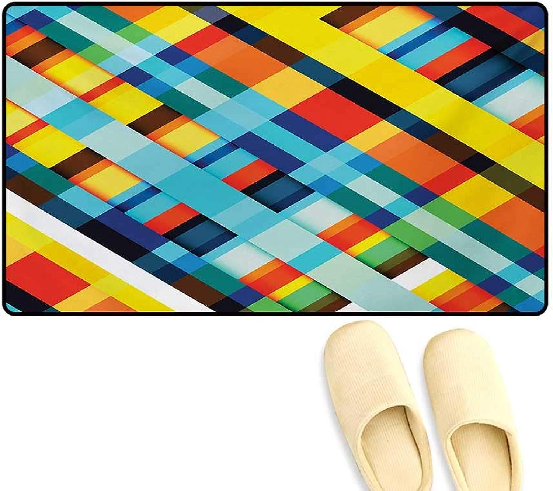 Door-mat,Vivid colord Lines Stripes Diagonal Elements Retro Layout Modern Touch,Door Mats Inside Bathroom Mat Non Slip,Multicolor,32 x48