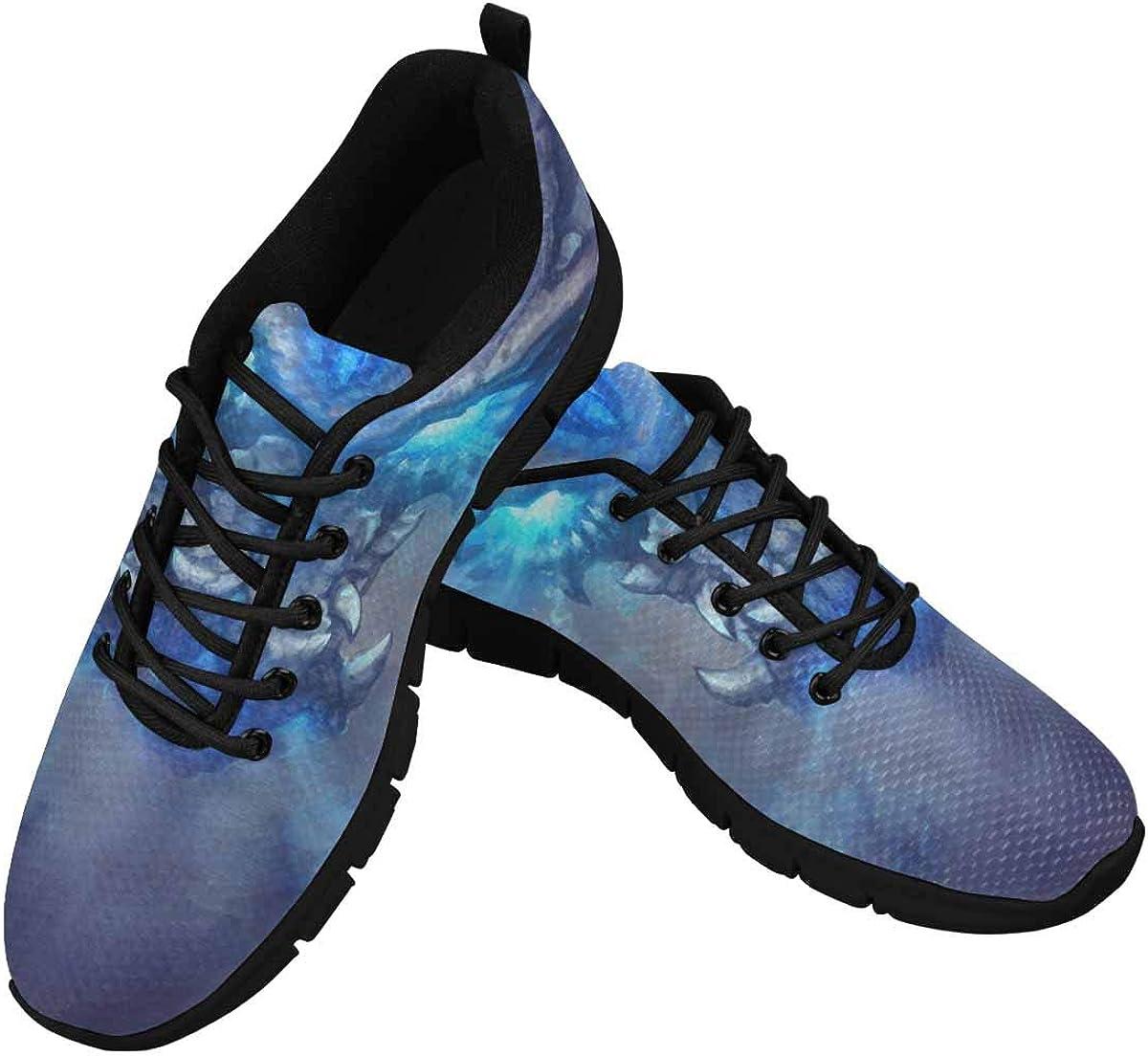 INTERESTPRINT A Huge White Dragon Women's Athletic Walking Shoes Breathe Comfort Mesh